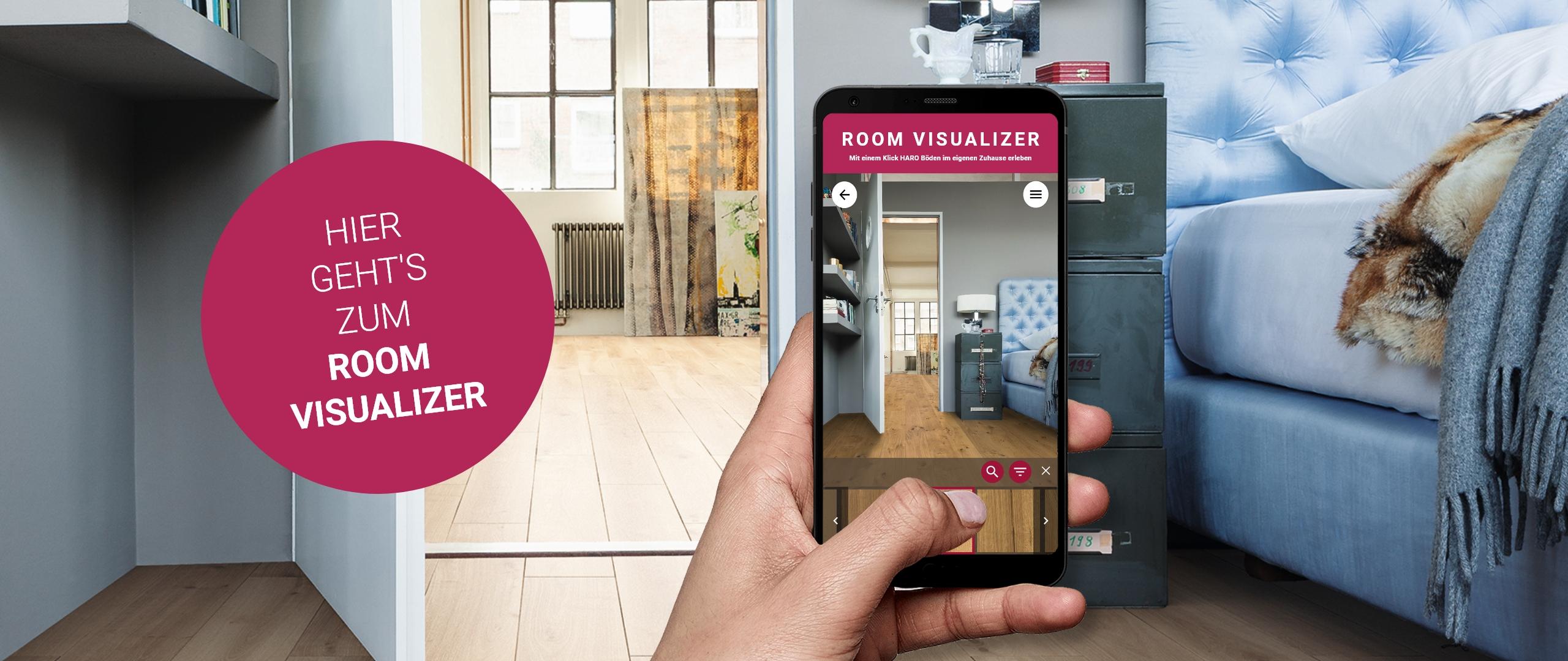 Knipsen Sie mit dem Smartphone oder Tablet ganz einfach ein Foto Ihres Raumes und laden Sie es hoch.